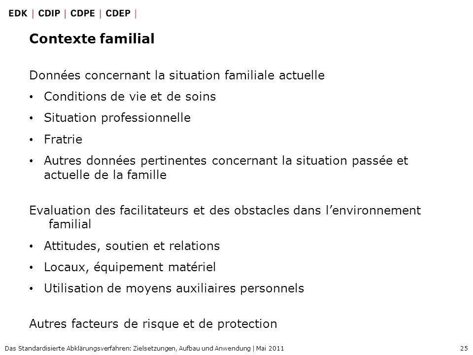 25 Das Standardisierte Abklärungsverfahren: Zielsetzungen, Aufbau und Anwendung | Mai 2011 Contexte familial Données concernant la situation familiale