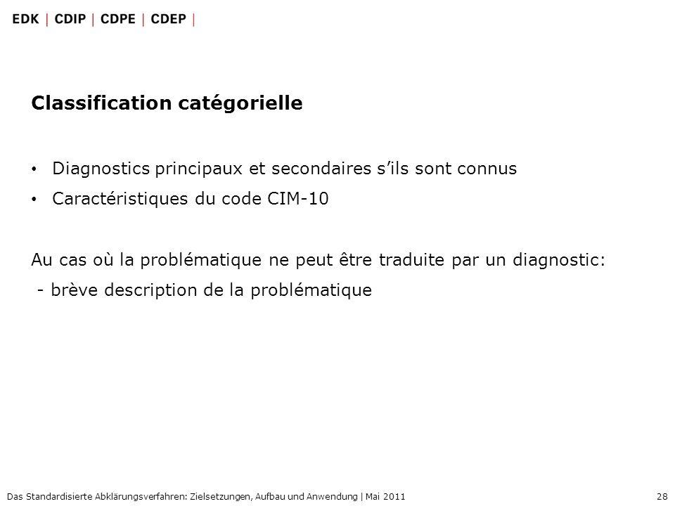 28 Das Standardisierte Abklärungsverfahren: Zielsetzungen, Aufbau und Anwendung | Mai 2011 Classification catégorielle Diagnostics principaux et secon