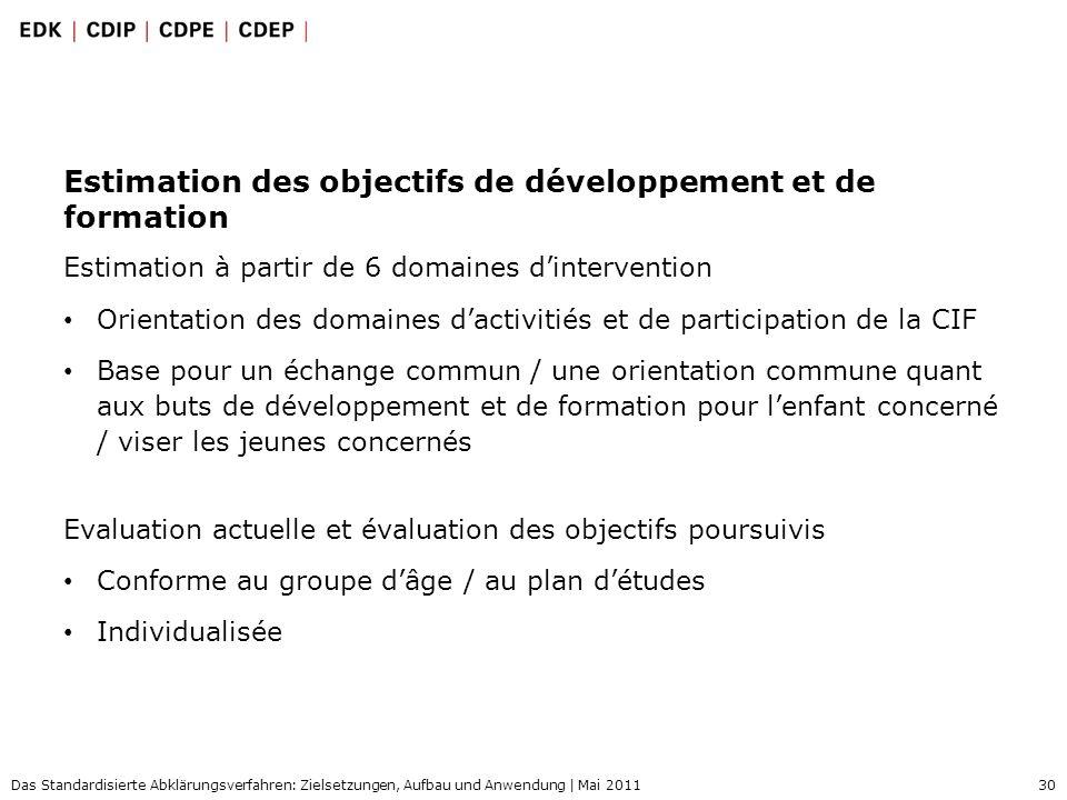 30 Das Standardisierte Abklärungsverfahren: Zielsetzungen, Aufbau und Anwendung | Mai 2011 Estimation des objectifs de développement et de formation E