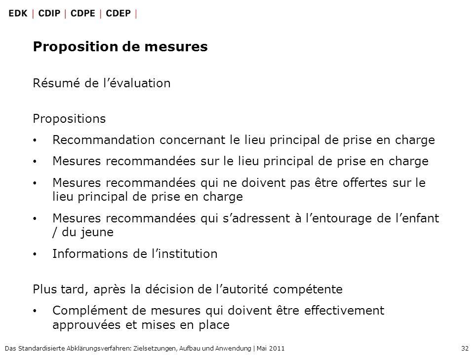 32 Das Standardisierte Abklärungsverfahren: Zielsetzungen, Aufbau und Anwendung | Mai 2011 Proposition de mesures Résumé de lévaluation Propositions R