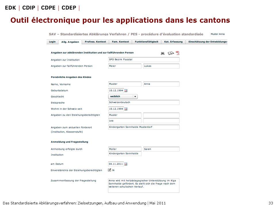 33 Das Standardisierte Abklärungsverfahren: Zielsetzungen, Aufbau und Anwendung | Mai 2011 Outil électronique pour les applications dans les cantons