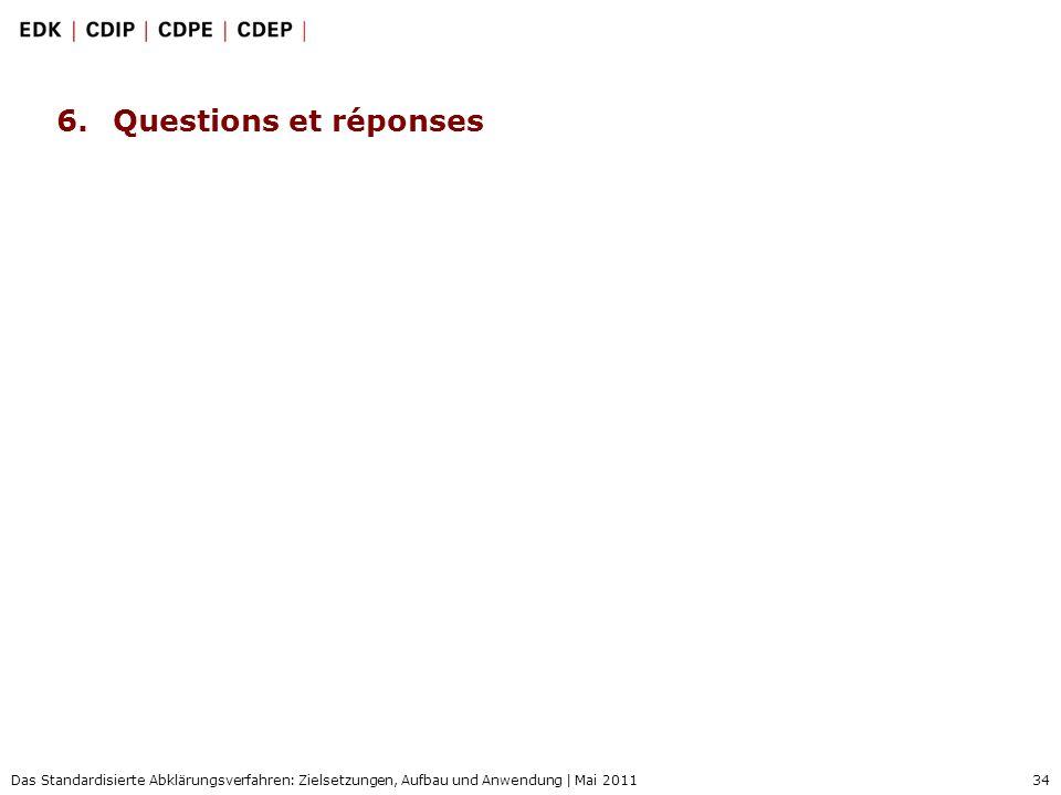 34 Das Standardisierte Abklärungsverfahren: Zielsetzungen, Aufbau und Anwendung | Mai 2011 6.Questions et réponses