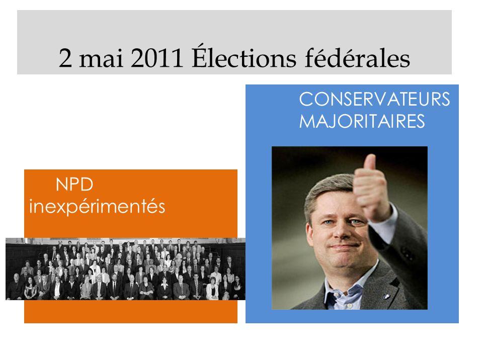 2 mai 2011 Élections fédérales NPD inexpérimentés CONSERVATEURS MAJORITAIRES