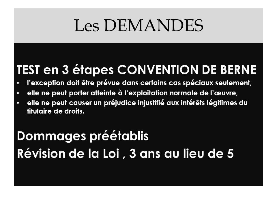 Les DEMANDES TEST en 3 étapes CONVENTION DE BERNE lexception doit être prévue dans certains cas spéciaux seulement, elle ne peut porter atteinte à lex