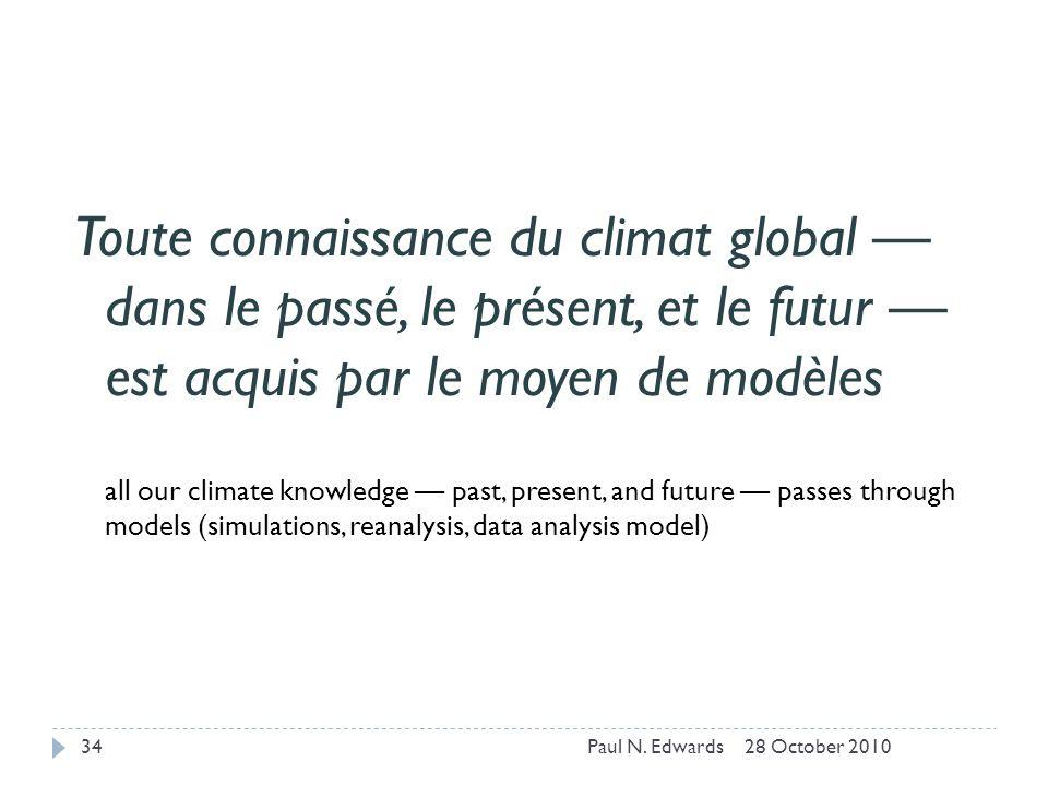 Toute connaissance du climat global dans le passé, le présent, et le futur est acquis par le moyen de modèles all our climate knowledge past, present, and future passes through models (simulations, reanalysis, data analysis model) 28 October 201034Paul N.