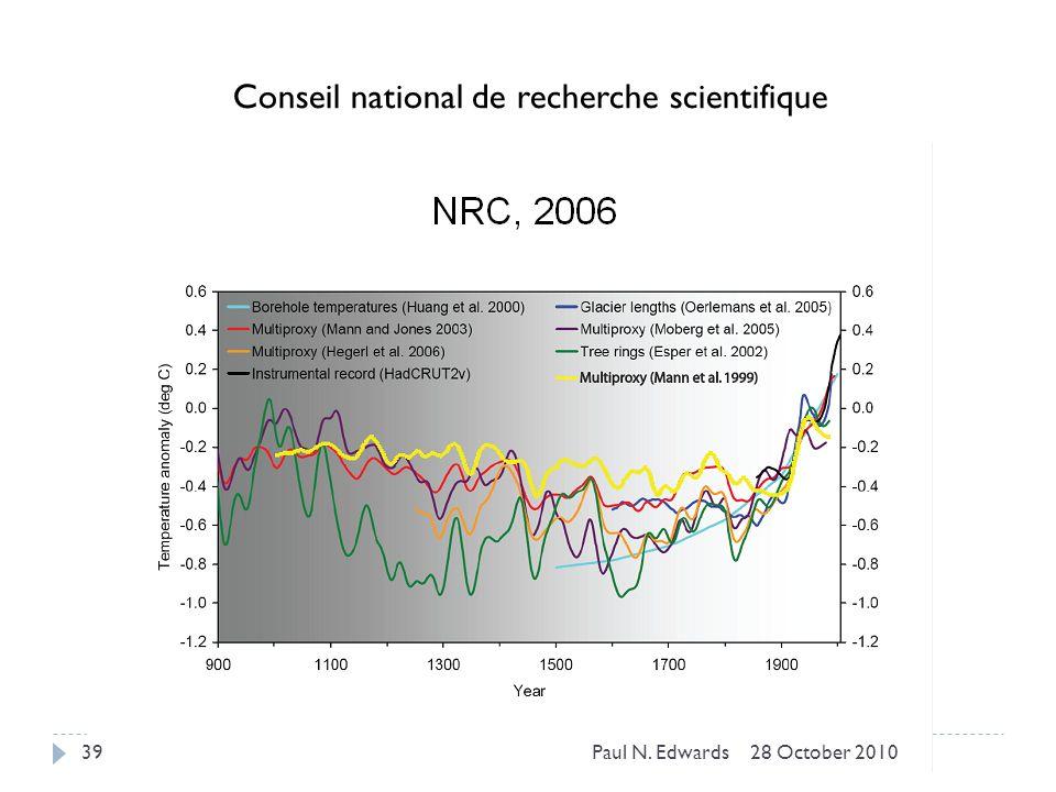 Conseil national de recherche scientifique 28 October 201039Paul N. Edwards