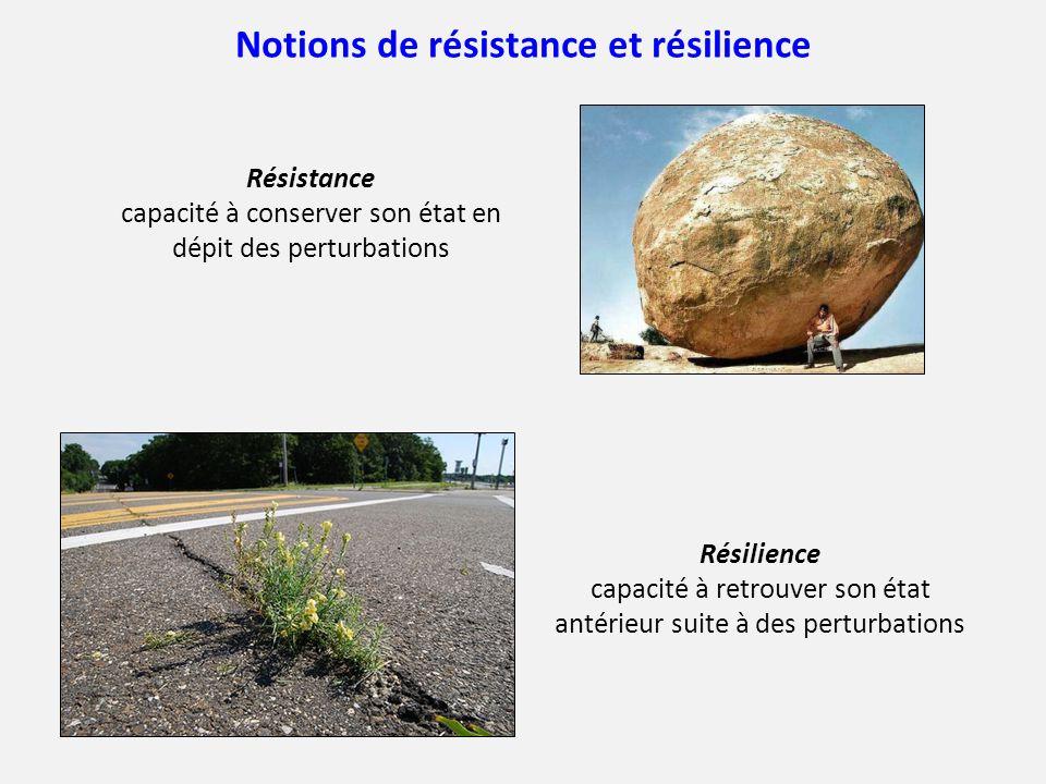 Notions de résistance et résilience Résistance capacité à conserver son état en dépit des perturbations Résilience capacité à retrouver son état antér