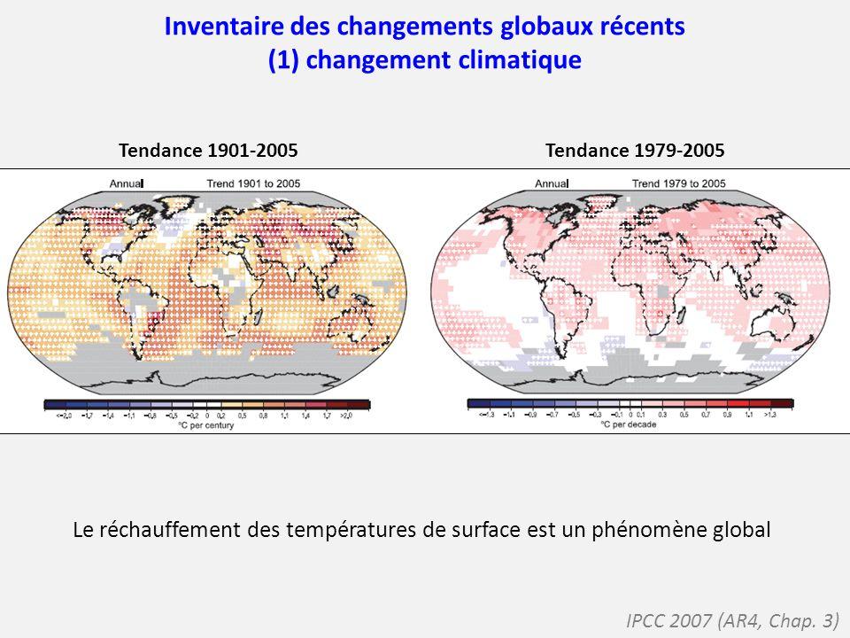 Inventaire des changements globaux récents (1) changement climatique Les quantités de précipitations sont affectées différemment selon les régions Pas de tendance à léchelle globale sur la période 1900-2005 Tendance 1901-2005 Tendance 1979-2005 IPCC 2007 (AR4, Chap.