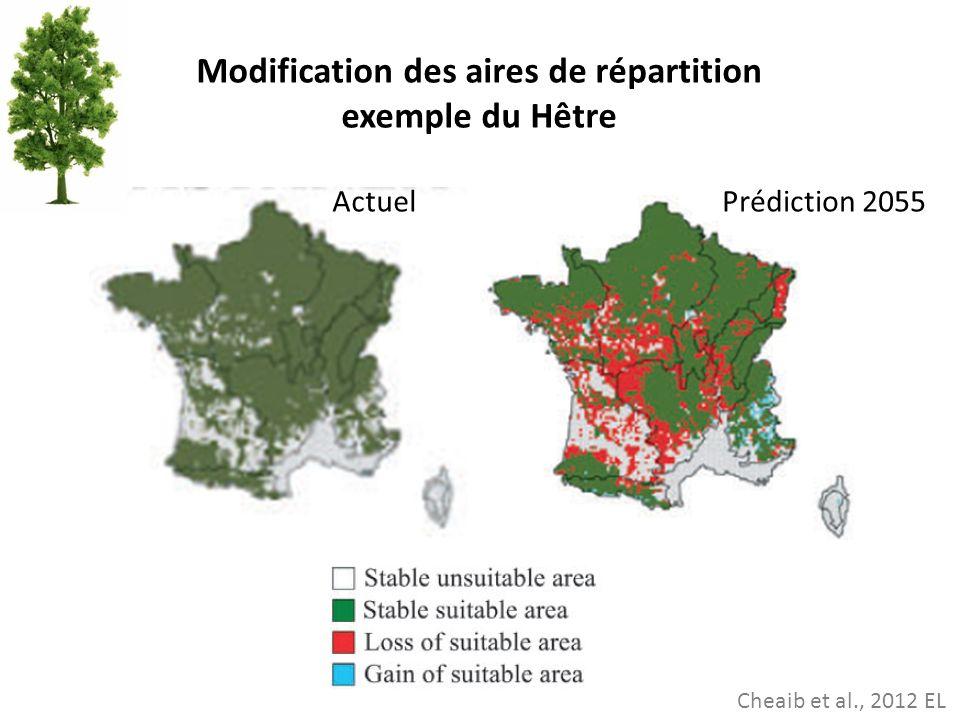 Cheaib et al., 2012 EL Modification des aires de répartition exemple du Hêtre ActuelPrédiction 2055