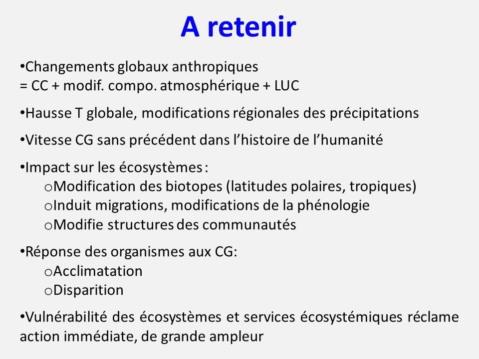 A retenir Changements globaux anthropiques = CC + modif. compo. atmosphérique + LUC Hausse T globale, modifications régionales des précipitations Vite