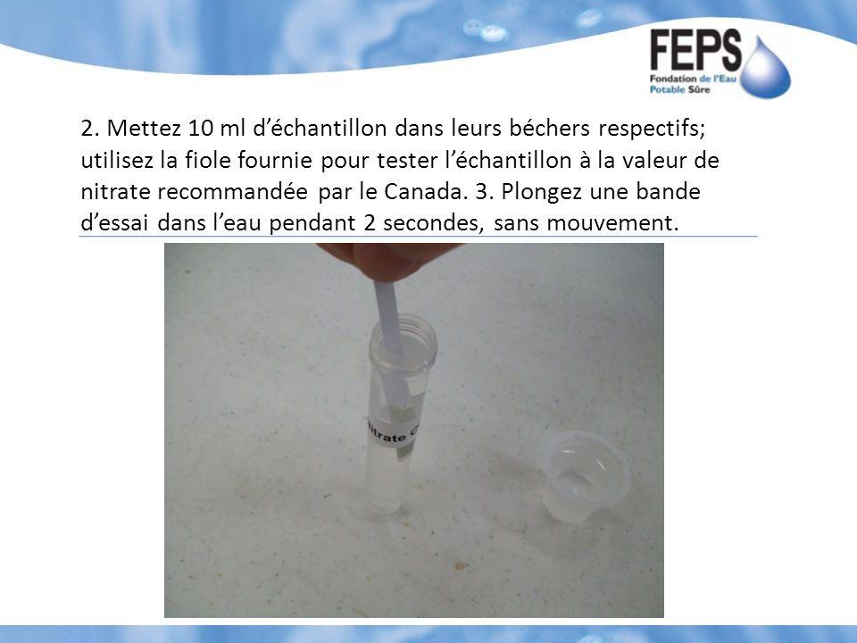 2. Mettez 10 ml déchantillon dans leurs béchers respectifs; utilisez la fiole fournie pour tester léchantillon à la valeur de nitrate recommandée par