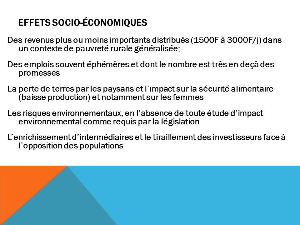 EFFETS SOCIO-ÉCONOMIQUES Des revenus plus ou moins importants distribués (1500F à 3000F/j) dans un contexte de pauvreté rurale généralisée; Des emploi