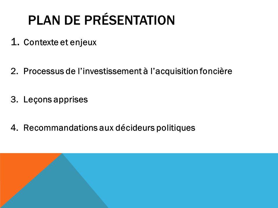 PLAN DE PRÉSENTATION 1. Contexte et enjeux 2. Processus de linvestissement à lacquisition foncière 3. Leçons apprises 4. Recommandations aux décideurs