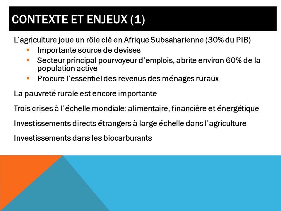 CONTEXTE ET ENJEUX (1) Lagriculture joue un rôle clé en Afrique Subsaharienne (30% du PIB) Importante source de devises Secteur principal pourvoyeur d
