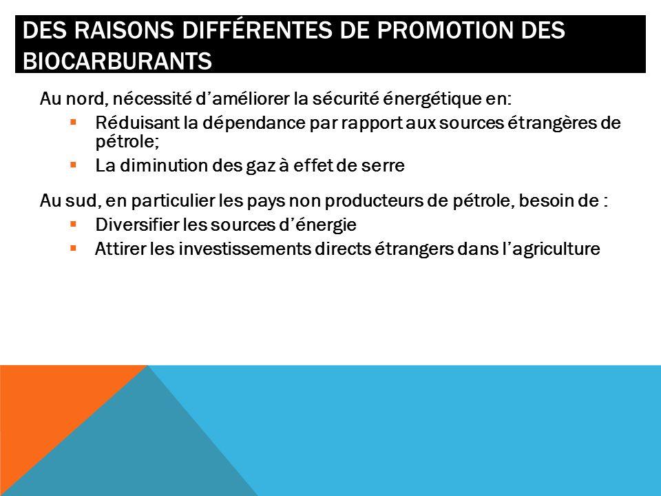 DES RAISONS DIFFÉRENTES DE PROMOTION DES BIOCARBURANTS Au nord, nécessité daméliorer la sécurité énergétique en: Réduisant la dépendance par rapport a