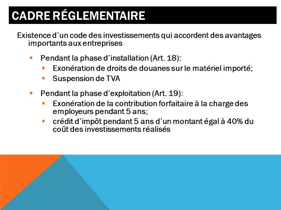 CADRE RÉGLEMENTAIRE Existence dun code des investissements qui accordent des avantages importants aux entreprises Pendant la phase dinstallation (Art.