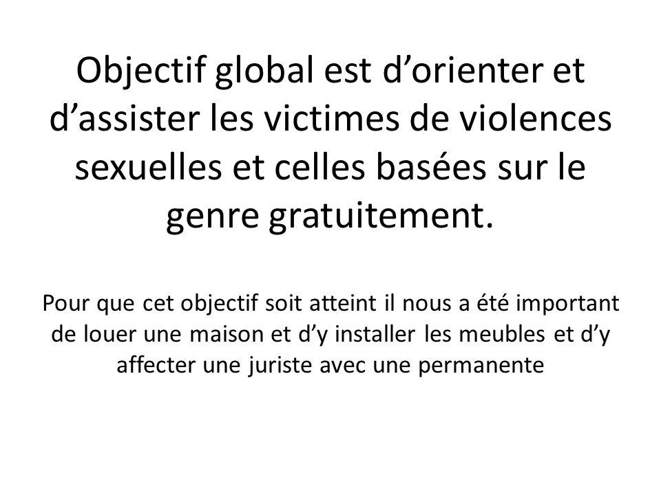 Objectif global est dorienter et dassister les victimes de violences sexuelles et celles basées sur le genre gratuitement.