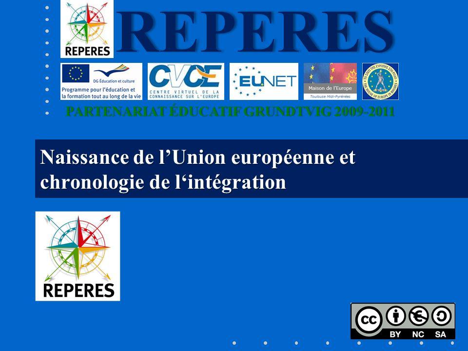 PARTENARIAT ÉDUCATIF GRUNDTVIG 2009-2011PARTENARIAT ÉDUCATIF GRUNDTVIG 2009-2011REPERES Naissance de lUnion européenne et chronologie de lintégration
