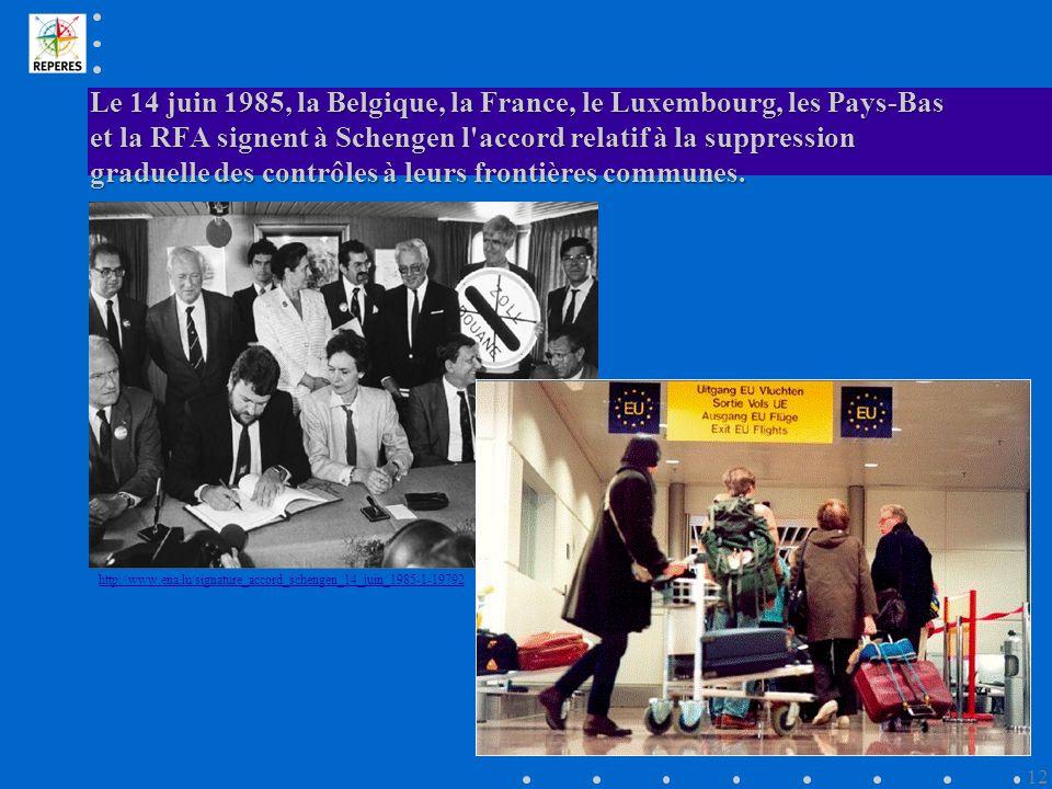 Le 14 juin 1985, la Belgique, la France, le Luxembourg, les Pays-Bas et la RFA signent à Schengen l accord relatif à la suppression graduelle des contrôles à leurs frontières communes.