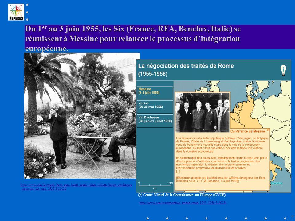 Du 1 er au 3 juin 1955, les Six (France, RFA, Benelux, Italie) se réunissent à Messine pour relancer le processus dintégration européenne.