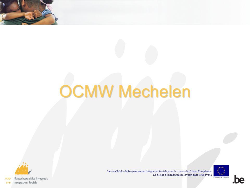 OCMW Mechelen Service Public de Programmation Int é gration Sociale, avec le soutien de l Union Europ é enne Le Fonds Social Europ é en investit dans votre avenir
