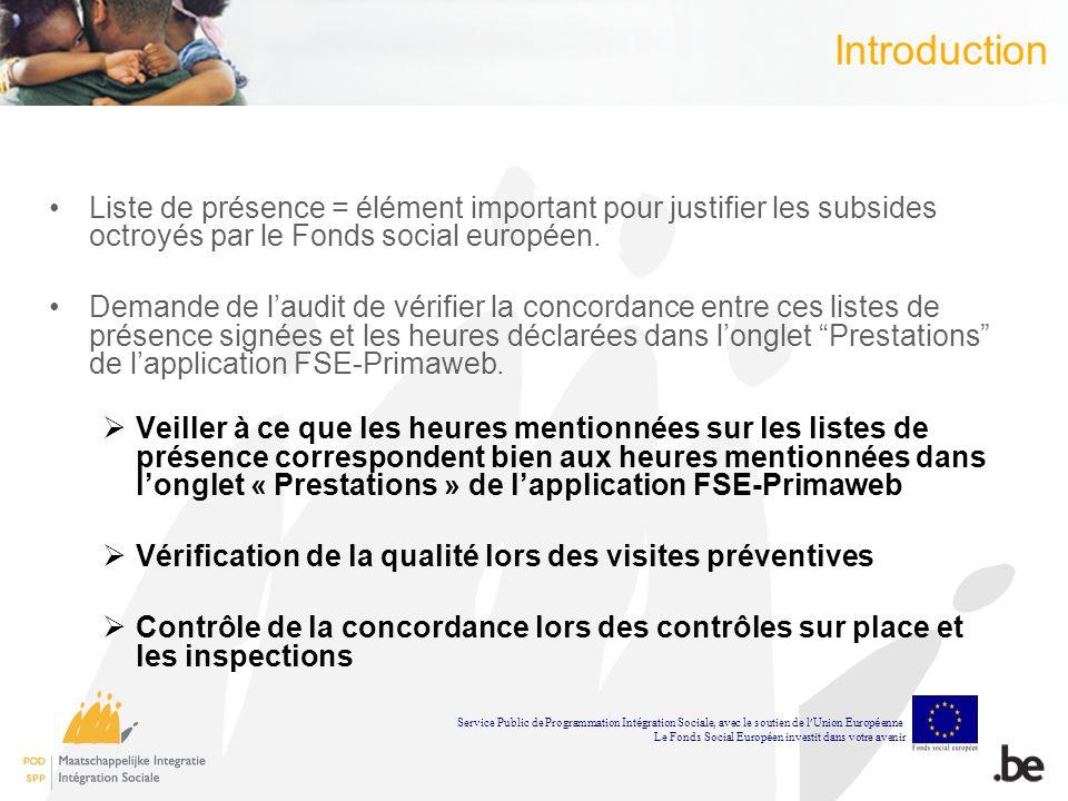 Introduction Liste de présence = élément important pour justifier les subsides octroyés par le Fonds social européen.