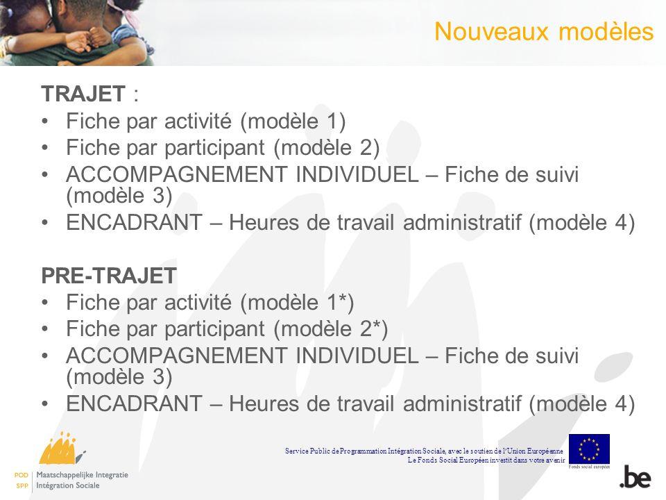 Nouveaux modèles TRAJET : Fiche par activité (modèle 1) Fiche par participant (modèle 2) ACCOMPAGNEMENT INDIVIDUEL – Fiche de suivi (modèle 3) ENCADRANT – Heures de travail administratif (modèle 4) PRE-TRAJET Fiche par activité (modèle 1*) Fiche par participant (modèle 2*) ACCOMPAGNEMENT INDIVIDUEL – Fiche de suivi (modèle 3) ENCADRANT – Heures de travail administratif (modèle 4) Service Public de Programmation Int é gration Sociale, avec le soutien de l Union Europ é enne Le Fonds Social Europ é en investit dans votre avenir