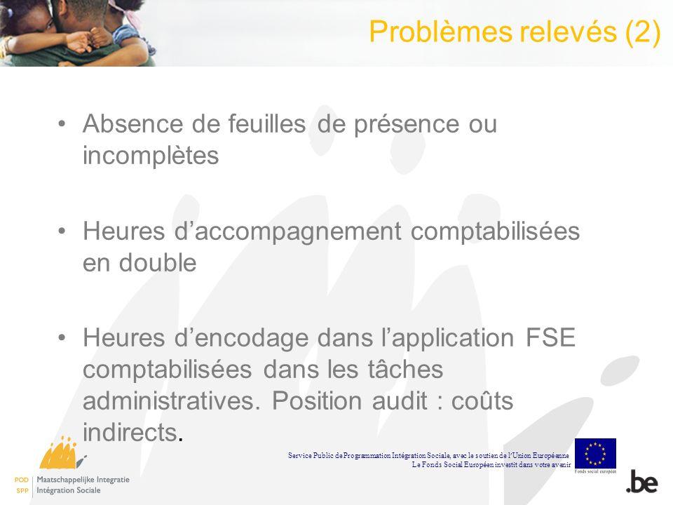 Problèmes relevés (2) Absence de feuilles de présence ou incomplètes Heures daccompagnement comptabilisées en double Heures dencodage dans lapplication FSE comptabilisées dans les tâches administratives.