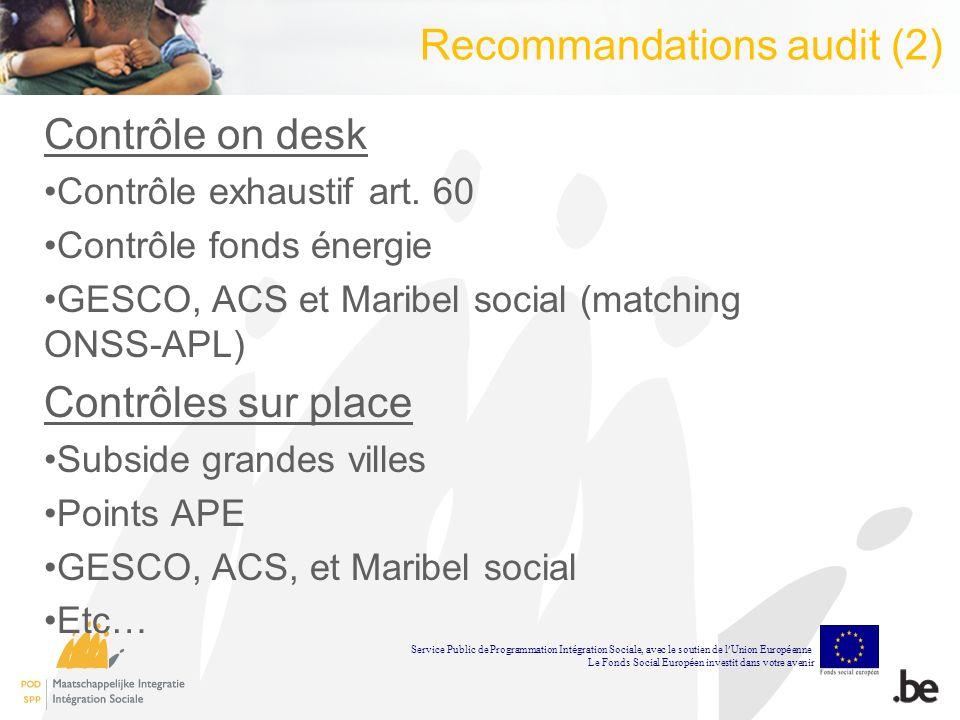 Recommandations audit (2) Contrôle on desk Contrôle exhaustif art.