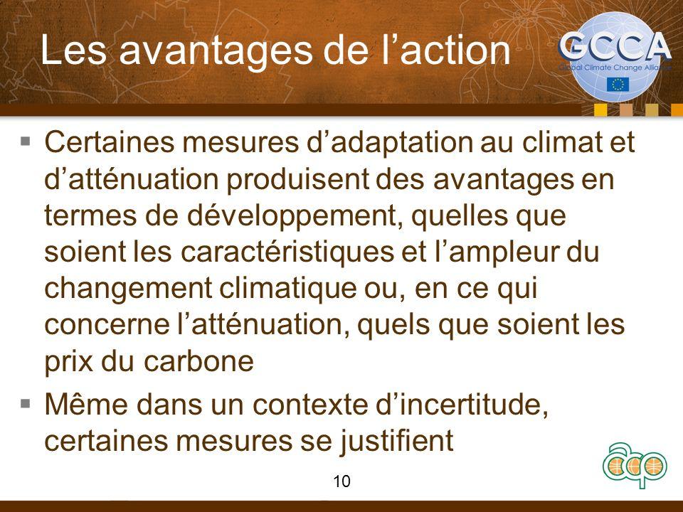 Les avantages de laction Certaines mesures dadaptation au climat et datténuation produisent des avantages en termes de développement, quelles que soient les caractéristiques et lampleur du changement climatique ou, en ce qui concerne latténuation, quels que soient les prix du carbone Même dans un contexte dincertitude, certaines mesures se justifient 10