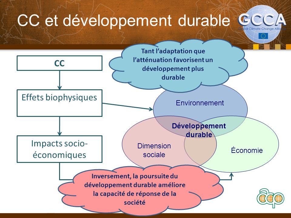 CC et développement durable 14 Environnement Dimension sociale Économie Développement durable CC Effets biophysiques Impacts socio- économiques Tant ladaptation que latténuation favorisent un développement plus durable Inversement, la poursuite du développement durable améliore la capacité de réponse de la société