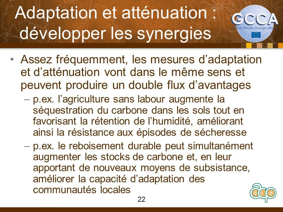 Adaptation et atténuation : développer les synergies Assez fréquemment, les mesures dadaptation et datténuation vont dans le même sens et peuvent produire un double flux davantages –p.ex.