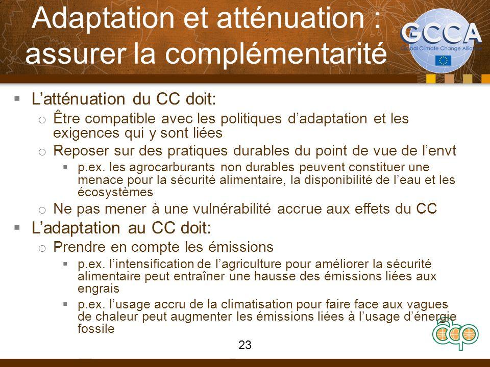 Adaptation et atténuation : assurer la complémentarité Latténuation du CC doit: o Être compatible avec les politiques dadaptation et les exigences qui y sont liées o Reposer sur des pratiques durables du point de vue de lenvt p.ex.