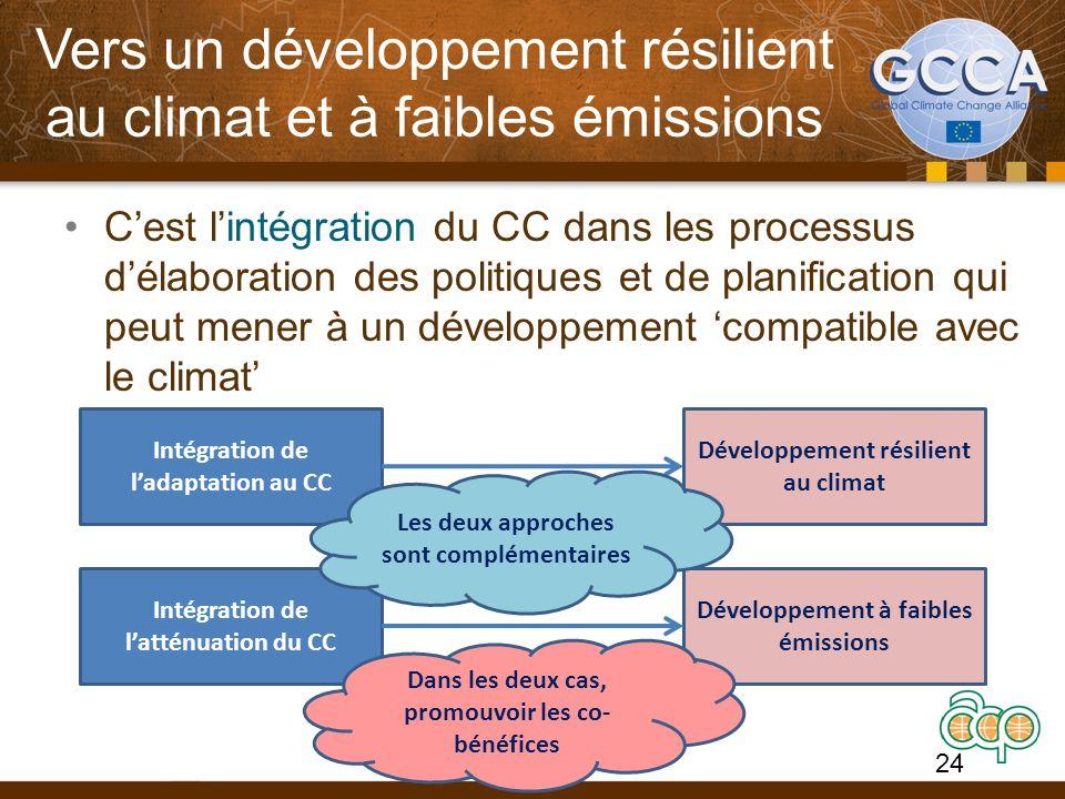 Vers un développement résilient au climat et à faibles émissions Cest lintégration du CC dans les processus délaboration des politiques et de planification qui peut mener à un développement compatible avec le climat Intégration de ladaptation au CC Intégration de latténuation du CC Développement à faibles émissions Développement résilient au climat Les deux approches sont complémentaires Dans les deux cas, promouvoir les co- bénéfices 24
