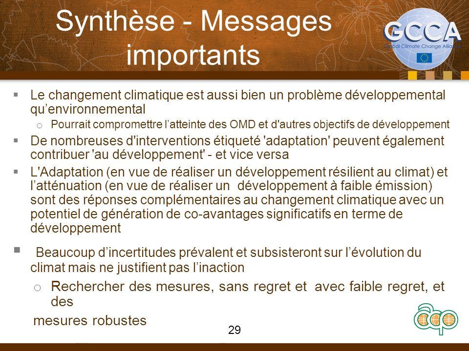 Synthèse - Messages importants Le changement climatique est aussi bien un problème développemental quenvironnemental o Pourrait compromettre latteinte des OMD et d autres objectifs de développement De nombreuses d interventions étiqueté adaptation peuvent également contribuer au développement - et vice versa L Adaptation (en vue de réaliser un développement résilient au climat) et latténuation (en vue de réaliser un développement à faible émission) sont des réponses complémentaires au changement climatique avec un potentiel de génération de co-avantages significatifs en terme de développement Beaucoup dincertitudes prévalent et subsisteront sur lévolution du climat mais ne justifient pas linaction o Rechercher des mesures, sans regret et avec faible regret, et des mesures robustes 29