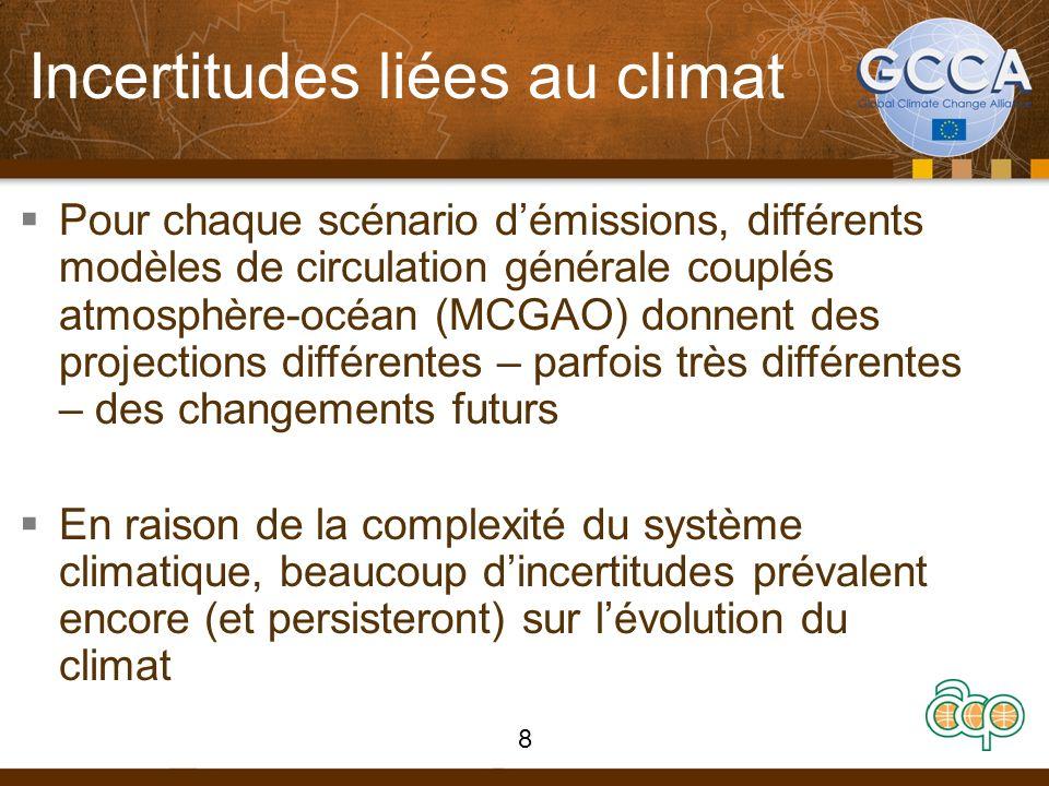 Incertitudes liées au climat Pour chaque scénario démissions, différents modèles de circulation générale couplés atmosphère-océan (MCGAO) donnent des projections différentes – parfois très différentes – des changements futurs En raison de la complexité du système climatique, beaucoup dincertitudes prévalent encore (et persisteront) sur lévolution du climat 8
