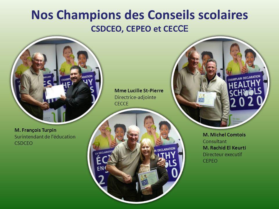 Nos Champions des Conseils scolaires CSDCEO, CEPEO et CEC CE M. François Turpin Surintendant de léducation CSDCEO Mme Lucille St-Pierre Directrice-adj