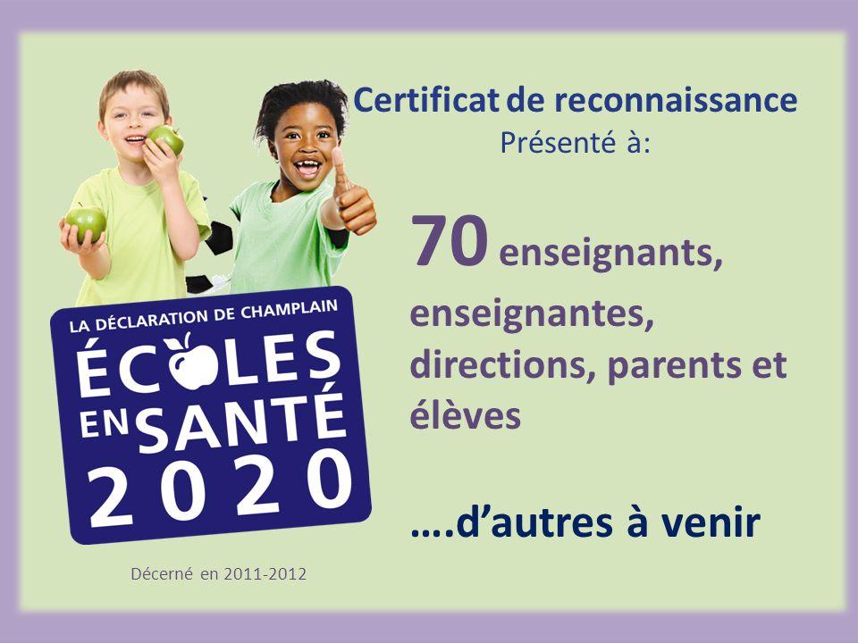 Décerné en 2011-2012 70 enseignants, enseignantes, directions, parents et élèves ….dautres à venir Certificat de reconnaissance Présenté à: