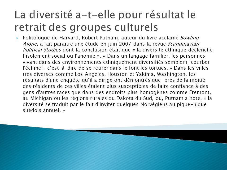 Les groupes ethniques affaiblissent la culture nationale La plupart de mes amis sont de la même ethnicité ou culture Fortement daccord Plutôt daccord Plutôt en désac cord Fortement en désaccord Fortement daccord 29.5%5.8%6.7%10.3% Plutôt daccord 25.8%30.5%16.0%9.8% Plutôt en désaccord 25.6%36.0%32.3%20.6% Fortement en désaccord 17.8%25.5%40.4%55.2% Je ne sais pas 1.4%2.0%3.6%4.1% Je préfère ne pas répondre.2%1.0%