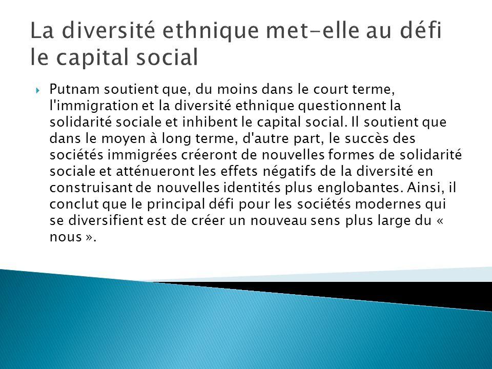 La théorie du contact revisitée Putnam fait allusion à deux points de vue opposés sur les effets sur la diversité sur les liens sociaux.