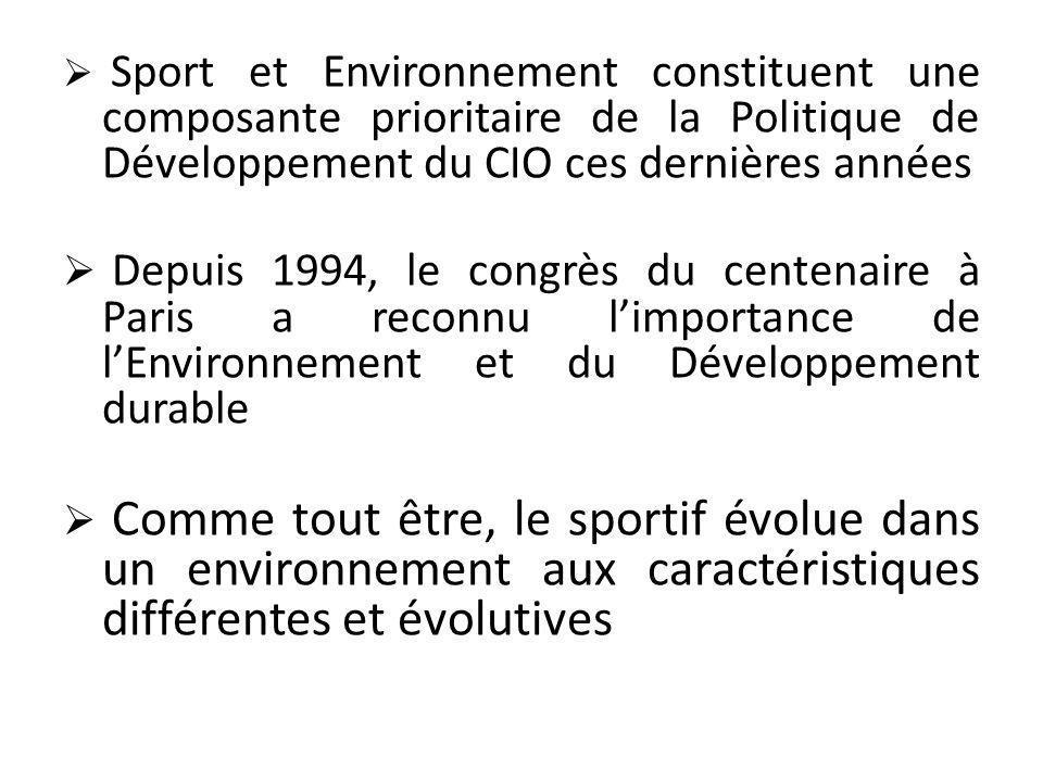 Sport et Environnement constituent une composante prioritaire de la Politique de Développement du CIO ces dernières années Depuis 1994, le congrès du centenaire à Paris a reconnu limportance de lEnvironnement et du Développement durable Comme tout être, le sportif évolue dans un environnement aux caractéristiques différentes et évolutives
