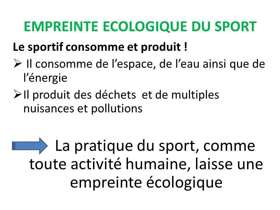 EMPREINTE ECOLOGIQUE DU SPORT Le sportif consomme et produit .