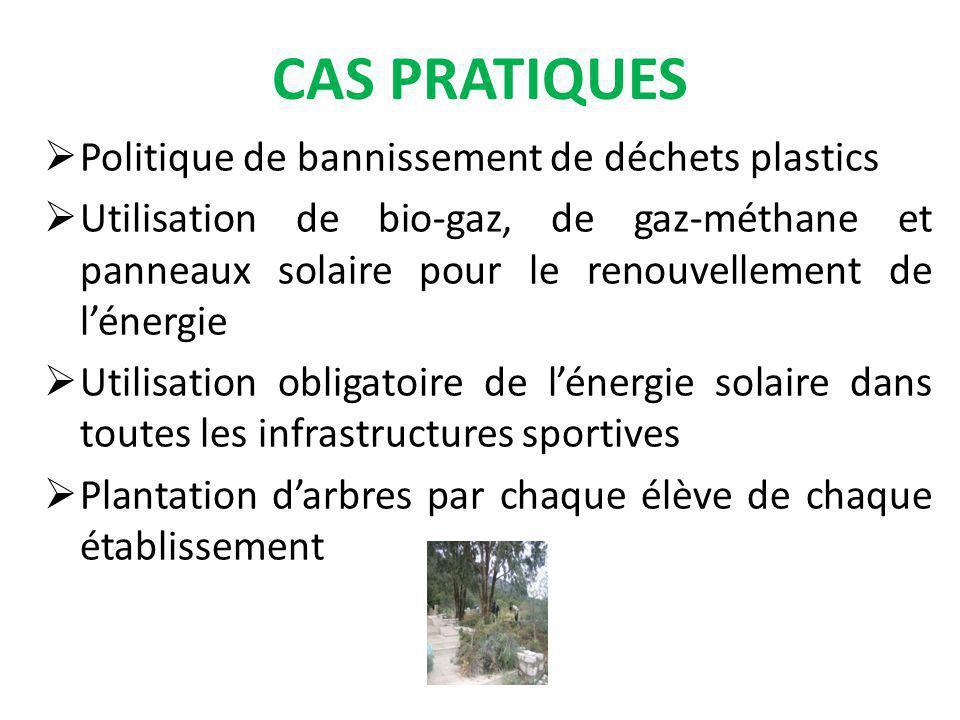 CAS PRATIQUES Politique de bannissement de déchets plastics Utilisation de bio-gaz, de gaz-méthane et panneaux solaire pour le renouvellement de lénergie Utilisation obligatoire de lénergie solaire dans toutes les infrastructures sportives Plantation darbres par chaque élève de chaque établissement