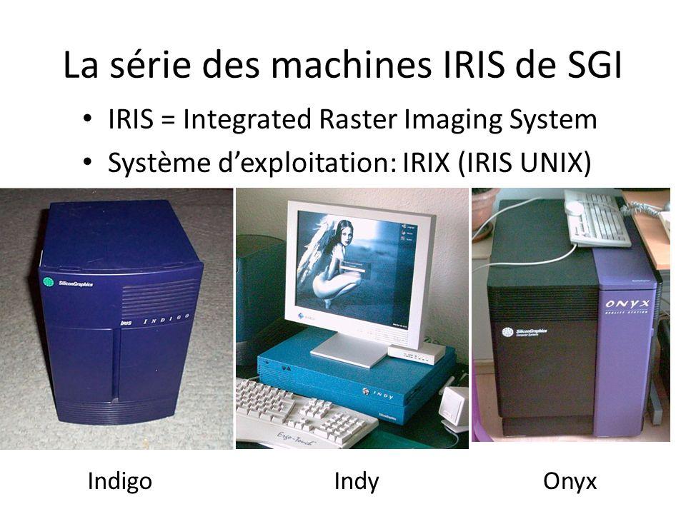 La série des machines IRIS de SGI IndigoOnyxIndy IRIS = Integrated Raster Imaging System Système dexploitation: IRIX (IRIS UNIX)