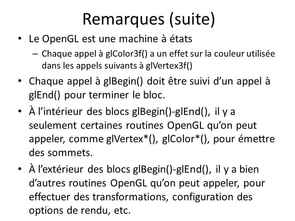 Remarques (suite) Le OpenGL est une machine à états – Chaque appel à glColor3f() a un effet sur la couleur utilisée dans les appels suivants à glVertex3f() Chaque appel à glBegin() doit être suivi dun appel à glEnd() pour terminer le bloc.