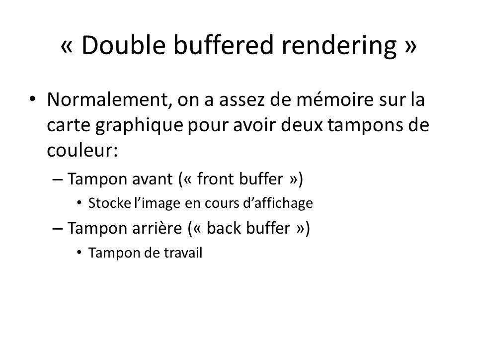 « Double buffered rendering » Normalement, on a assez de mémoire sur la carte graphique pour avoir deux tampons de couleur: – Tampon avant (« front buffer ») Stocke limage en cours daffichage – Tampon arrière (« back buffer ») Tampon de travail