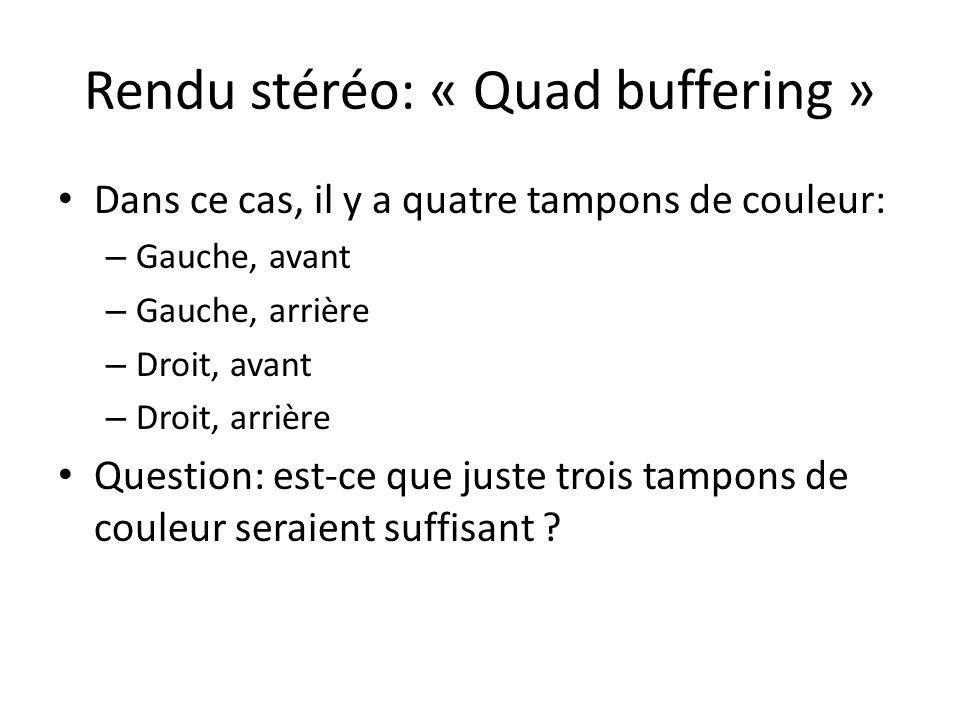 Rendu stéréo: « Quad buffering » Dans ce cas, il y a quatre tampons de couleur: – Gauche, avant – Gauche, arrière – Droit, avant – Droit, arrière Question: est-ce que juste trois tampons de couleur seraient suffisant
