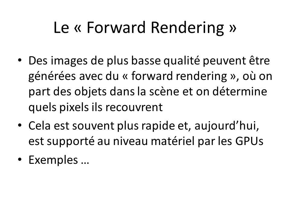 Le « Forward Rendering » Des images de plus basse qualité peuvent être générées avec du « forward rendering », où on part des objets dans la scène et on détermine quels pixels ils recouvrent Cela est souvent plus rapide et, aujourdhui, est supporté au niveau matériel par les GPUs Exemples …