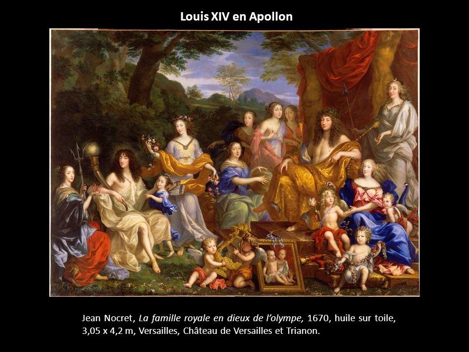 Louis XIV en Apollon Jean Nocret, La famille royale en dieux de lolympe, 1670, huile sur toile, 3,05 x 4,2 m, Versailles, Château de Versailles et Tri