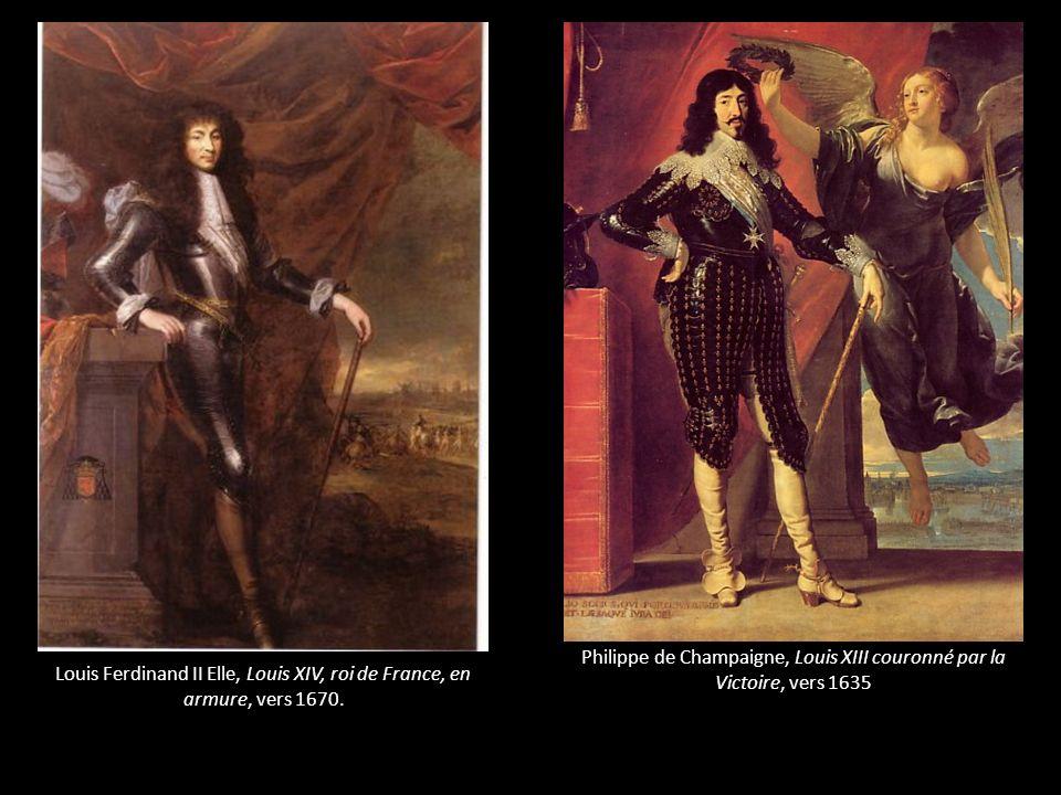 Louis Ferdinand II Elle, Louis XIV, roi de France, en armure, vers 1670. Philippe de Champaigne, Louis XIII couronné par la Victoire, vers 1635